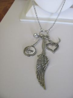 Cookie Lee Angel Wing Charm Necklace New