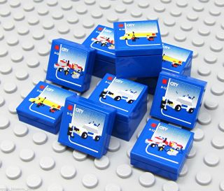 New Set 9 Blue Brick Miniature Toy Lego Boxes Sized 4 Lego City