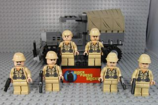 Lot of 6 Lego German Army Minifigure Soldiers W/ Vehicle + Weapons
