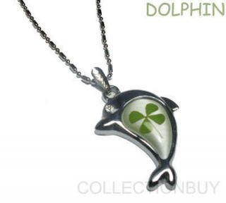 Luck Shamrock Four Leaf Clover Dolphin Necklace Pendant