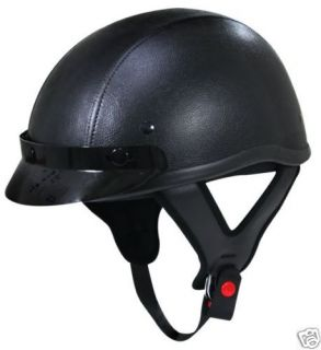 Dot Motorcycle Half Helmet Black Leather Lo Profile L