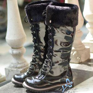 LEM black lace up womens flat Punk PVC Dress boots xlm8018b shoes sz