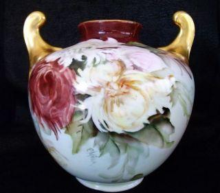 Antique Ph Leonard Austria Vase Hand Painted Spider Mums by E Miler
