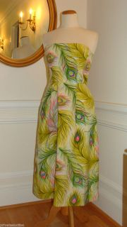 NANETTE LEPORE STUNNING PEACOCK FEATHER STRAPLESS DRESS VIBRANT