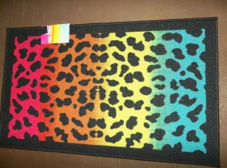 Rainbow Leopard Print Rug Girls Room 24 x 39 Cool Big Decor