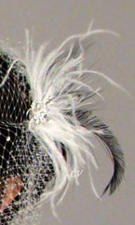 Black White BROOCH RHINESTONE Feather Fascinator Bridal Party New Hair