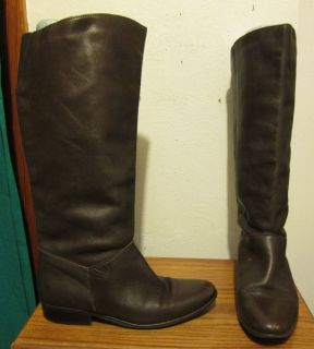 Ladies Hunt Club Leather Brown Knee High Boots Size 8 5 Made in Brazil
