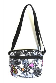 LESPORTSAC SHELLIE handbag peace NYLON PINK hearts BUTTERFLY BLACK