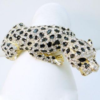 Animal Leopard Bracelet Bangle Clear Swarovski Crystal Panther Cuff