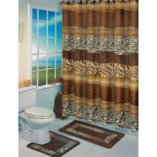 Print Jungle Safari Zebra Leopard Bath Shower Curtain Rug Mat Set