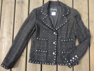 NWOT CHANEL 05A Black Lesage Fantasy Tweed CC Logo Buttons Jacket FR38
