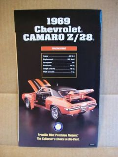 1969 Chevrolet Camaro Z 28 Franklin Mint Brochure