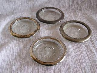 Italian Leonard Italy Glass Silver Coaster Set 4pc