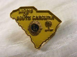 Vintage 1960s Lions Club South Carolina Pin Pinback