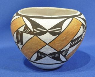 Authentic Acoma Indian Pottery by Lucy M Lewis Polychrome Bowl C 1975