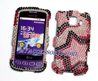 LG Optimus s LS670 Pink Stars Glitter Rhinestones Bling Phone Case
