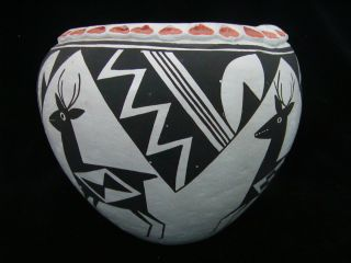 Native American Lucy M Lewis Signed Acoma Pueblo Pottery Bowl