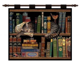 Tiger Cat Kitten Library Book Shelf Art Tapestry Wall Hanging
