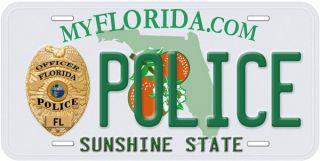 Florida Police Aluminum Novelty Car Auto License Plate