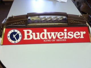 EJ9 BUDWEISER BEER SIGN POOL TABLE LICHT CLOCK LAMP LIGHTED CLYDESDALE