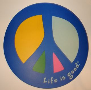 Life Is Good Sticker 4 Round Peace Sign Blue Yellow
