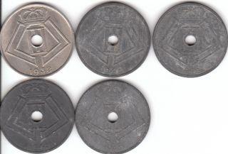 25 Cenimes Zinc Coin Nazi German Occupaion WWII Duch Leopold III