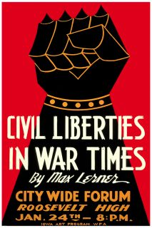2607 Civil Liberties in War Times Max Lerner Quality Ad Poster