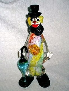 Vintage 10 Murano Italian Art Glass Clown with Umbrella Pastels