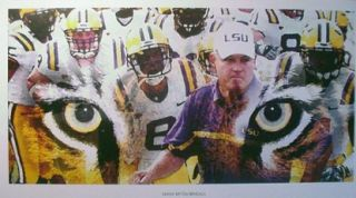 LSU Tigers Geaux Tigers 12 x 24 Poster Les Miles NCAA