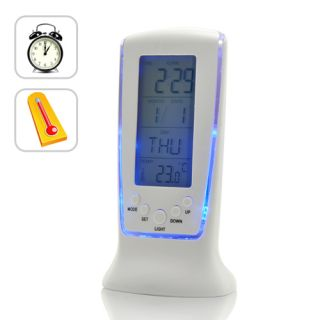 Digital Blue LED Light Alarm Clock w Thermometer Calendar Timer 7