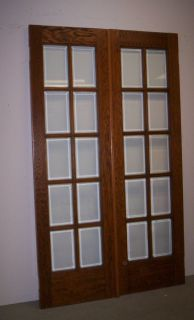 Antique Oak 10 Light Beveled Glass French Doors c1918 47 x 80