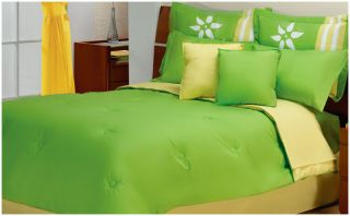 New Lime Green Yellow White Flowers Comforter Bedding Set