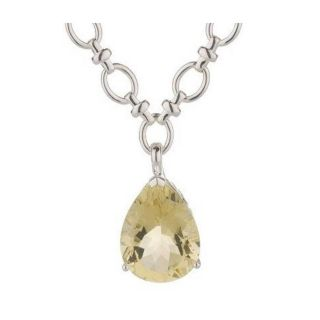Sterling Silver Pear Shape Limon Quartz Enhancer with 18 Chain