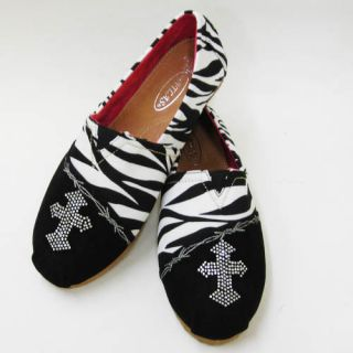 Atlas Zebra Cross Rhinestone Bling Tom Mule Bob Flat Women Shoe 6 5 7