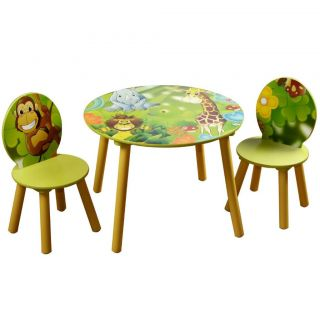 NEW Toddlers Kids Wood Wooden Round Table and Chair Set Animal Jungle