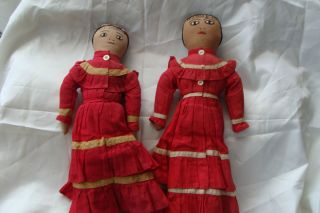 Native Indian Cloth Dolls Most Likely CHOCTAW Original Dresses