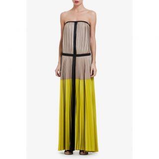 398 BCBG MAXAZRIA Lilyan Strapless Color Block Pleated Maxi Dress XS