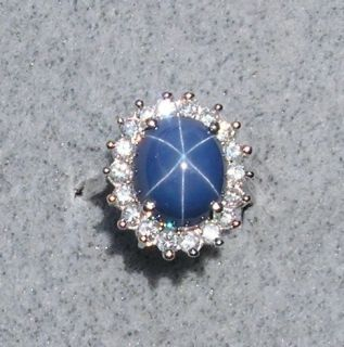 Vintage Signed Linde Lindy CRNFLWR Blue Star Sapphire Created Rhodium