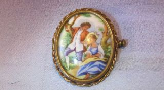 Antique Hand Painted Limoges Pin Brooch Gold Tone Frame Pastoral Scene