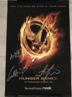 Hunger Games Signed Poster Liam Hemsworth Cato Rue PSA COA
