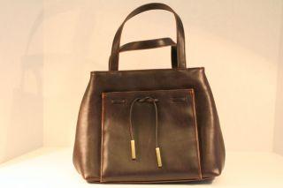 Liz Claiborne Villager Dark Brown Vinyl Womens Handbag Purse Used