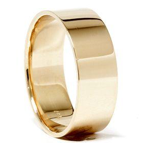 8MM Solid 14K Yellow Gold Karat Mens Wide Comfort Fit Wedding Ring