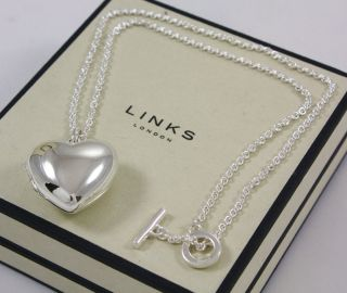 NEW LINKS OF LONDON Large Silver Valentine Heart Locket Chain Pendant