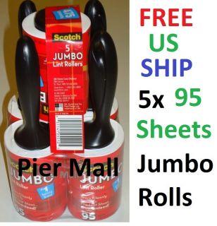 Scotch Jumbo Lint Rollers 5 Packs x 95 Sheet Roll 475 Sheets Remove