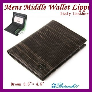Wallet Bifold Wallet Credit Card Case Italy Leather Lippi Brown