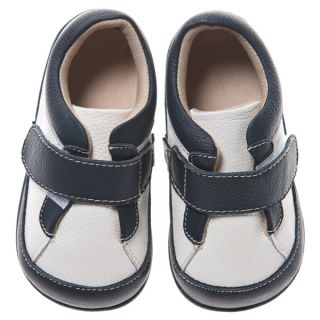 Little Blue Lamb White Navy Blue Leather Shoes Toddler Boy from Sz 6