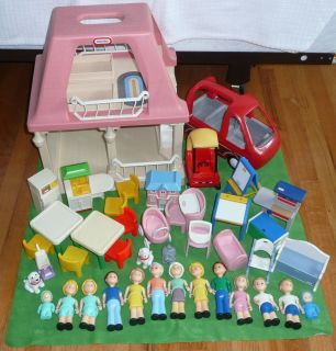 Little Tikes Grandmas House Doll House People Furniture Van Grass Lot