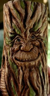 Gnome Home Greenman Wood Spirit OOAK Carving by Lisa Rogers