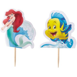 24 TOPPER FAVORS PARTY CAKE CUPCAKE PICKS LITTLE MERMAID ARIEL