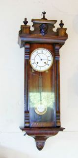 Antique Vienna Regulator VGC 8 Day Chime Runs Late 1800's Wall Clock